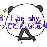 「Don't be shy.」ってどんな意味?賢者-ch11